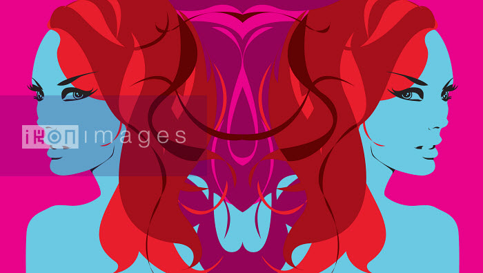 Symmetrical blue twin women with intertwined red hair - Symmetrical blue twin women with intertwined red hair - Nicole Onslow