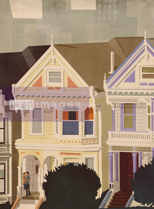 Couple embracing on porch of Painted Ladies house, San Francisco, United States - Couple embracing on porch of Painted Ladies house, San Francisco, United States - Giordano Poloni