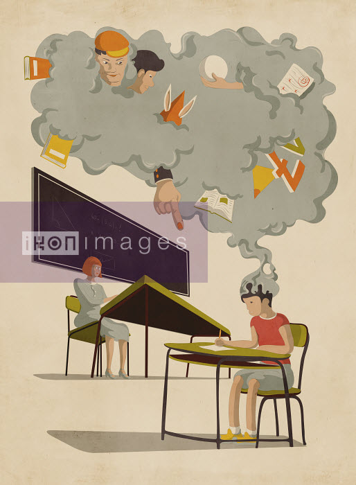 Gray cloud of distractions over schoolboy working in detention - Gray cloud of distractions over schoolboy working in detention - Giordano Poloni