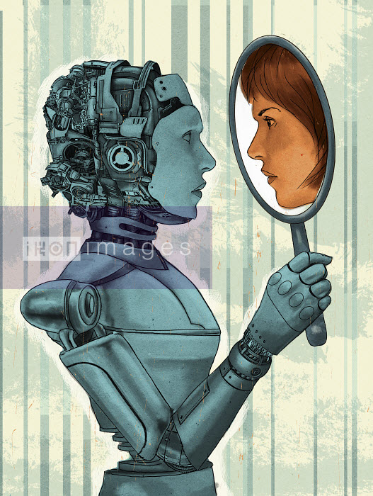 Female robot holding mirror with face of woman reflection - Female robot holding mirror with face of woman reflection - Thomas Kuhlenbeck