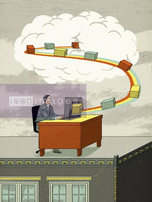 Businessman cloud computing sending storage boxes on conveyor belt from desktop computer to cloud - Businessman cloud computing sending storage boxes on conveyor belt from desktop computer to cloud - Thomas Kuhlenbeck