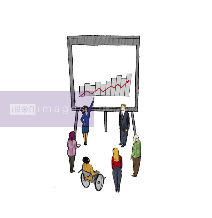 Businesswoman explaining growth chart to people in meeting - Businesswoman explaining growth chart to people in meeting - Danae Diaz