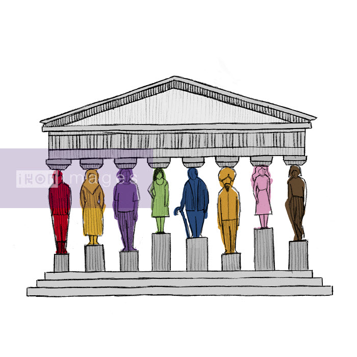Diverse people as pillars supporting roof of government building - Diverse people as pillars supporting roof of government building - Danae Diaz