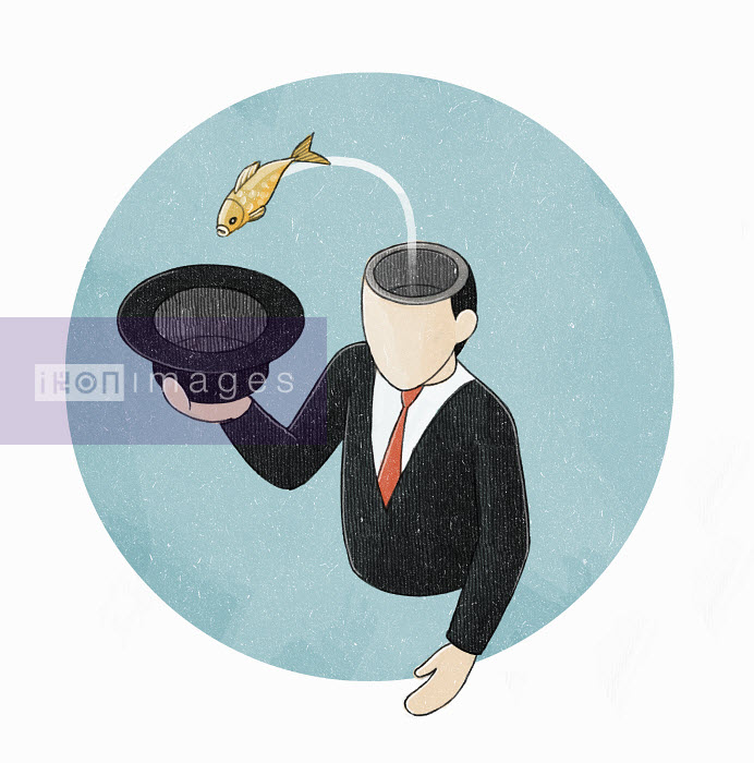 Fish jumping from head of businessman into hat - Fish jumping from head of businessman into hat - Danae Diaz