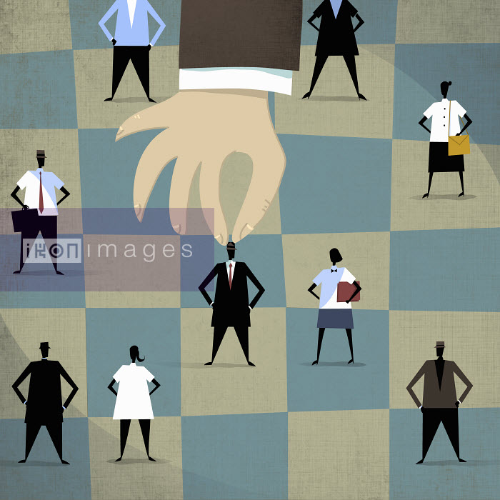 Large hand choosing businessman standing out from the crowd - Large hand choosing businessman standing out from the crowd - Rocco Baviera