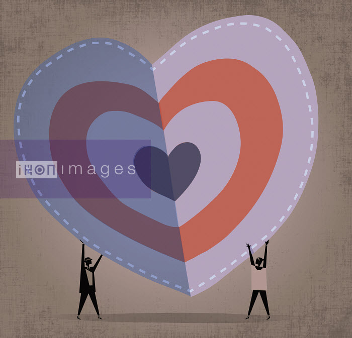 Two women folding a large heart shape - Two women folding a large heart shape - Rocco Baviera
