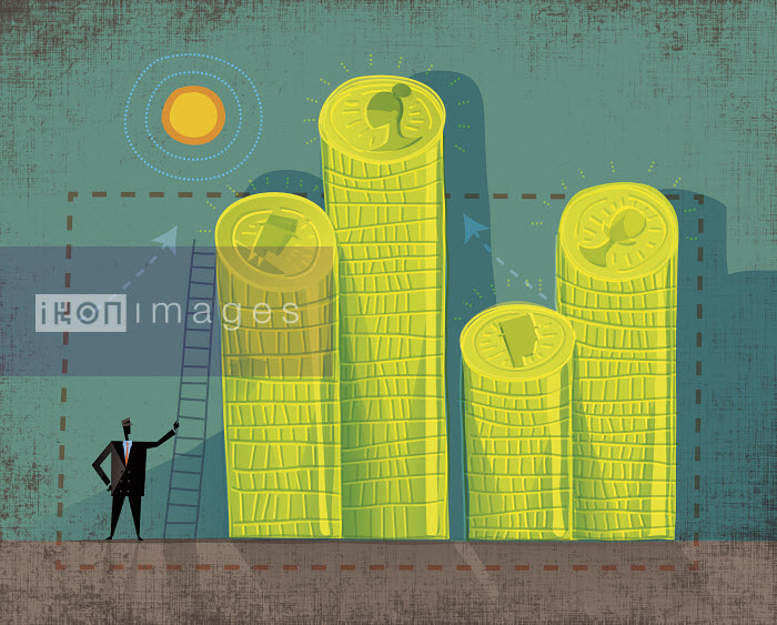 Businessman with ladder and piles of coins with different faces - Businessman with ladder and piles of coins with different faces - Rocco Baviera
