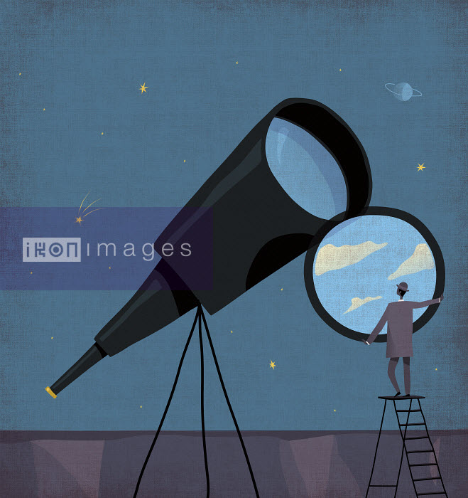 Businessman changing telescope lens to sunny blue sky at night - Rocco Baviera