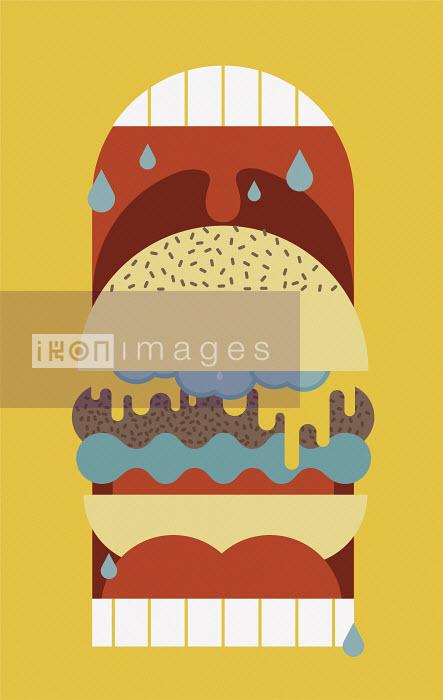 John Devolle - Cheeseburger inside of huge open drooling mouth