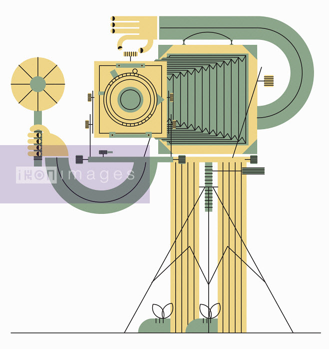 John Devolle - Man taking photograph with old-fashioned bellows camera