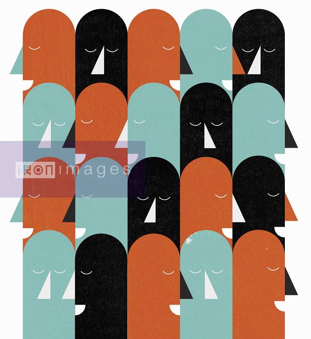 John Devolle - Pattern of rows of heads