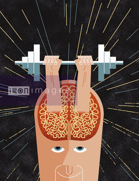John Devolle - Hands lifting barbell from man's brain