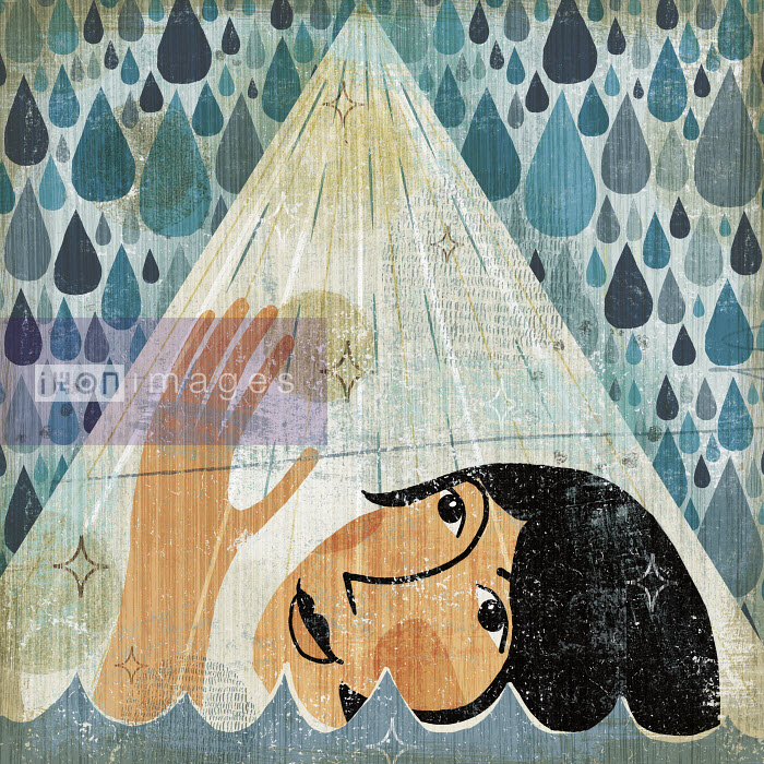 Michael Mullan - Woman drowning reaching towards beam of light in rain