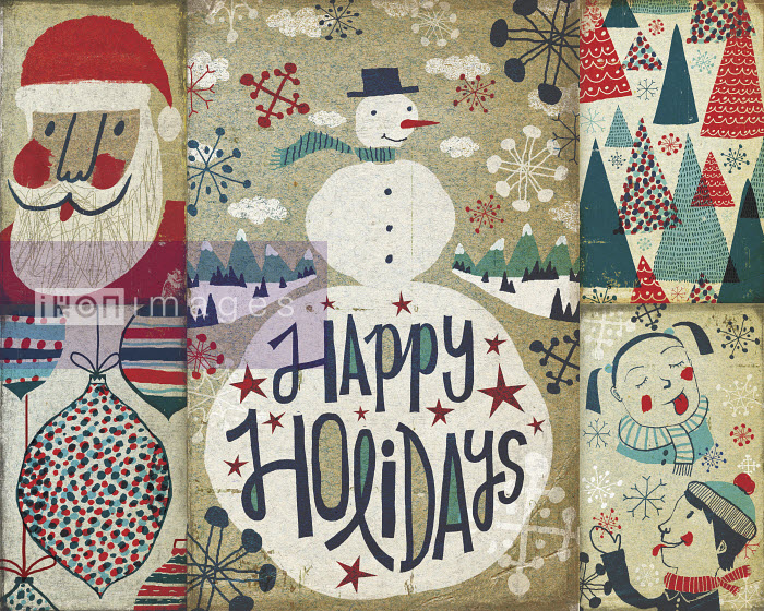 Montage of old-fashioned Christmas cards Michael Mullan