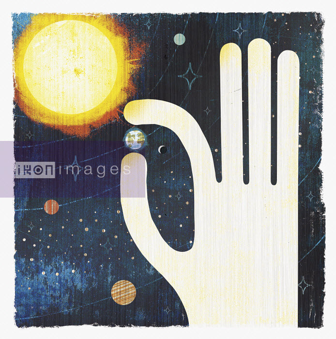 Large hand picking planet earth in solar system Michael Mullan