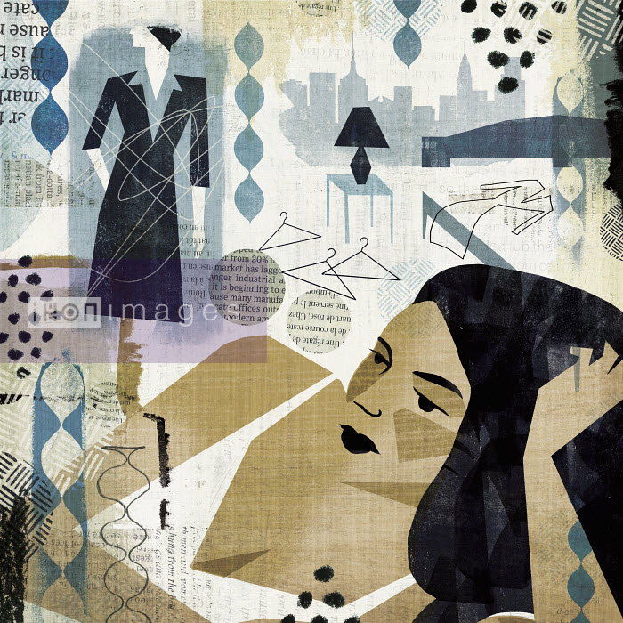 Michael Mullan - Collage of woman contemplating what to wear
