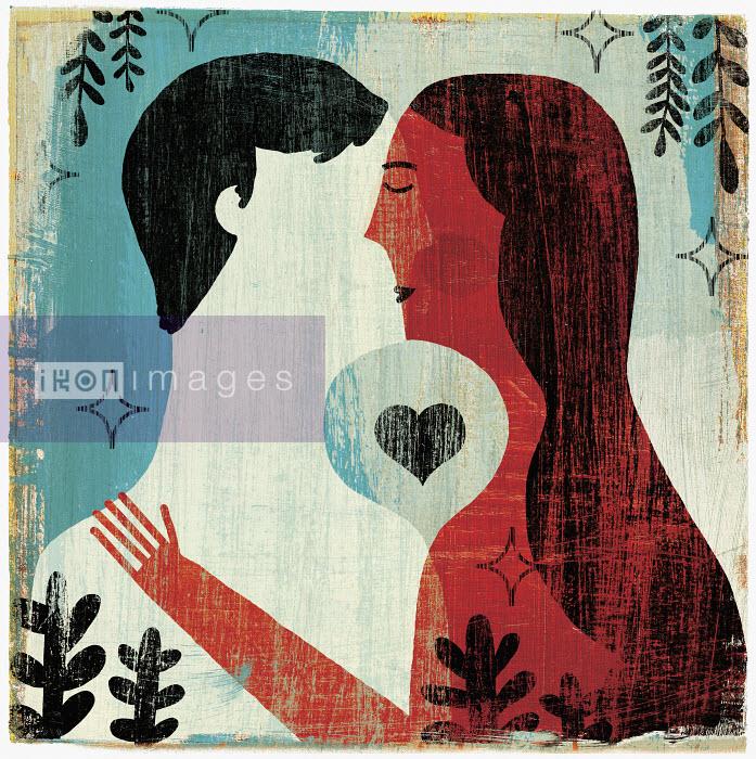 Michael Mullan - Heart shape between couple kissing