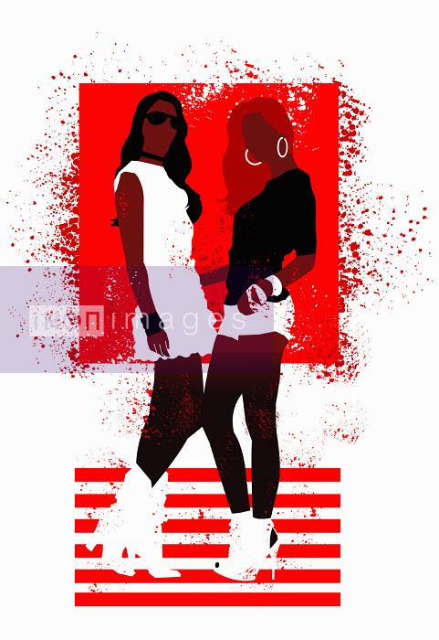 Ade Akinrujomu - Fashionable teenage girls posing in red and white pattern
