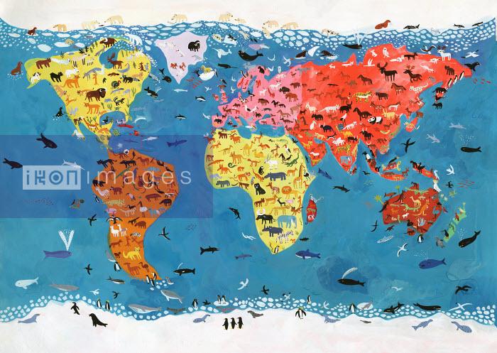 Artists Studio - World map of wild animals - Christopher Corr