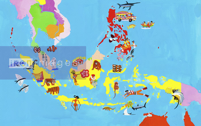 Ikon Images Illustrated map of Southeast Asia