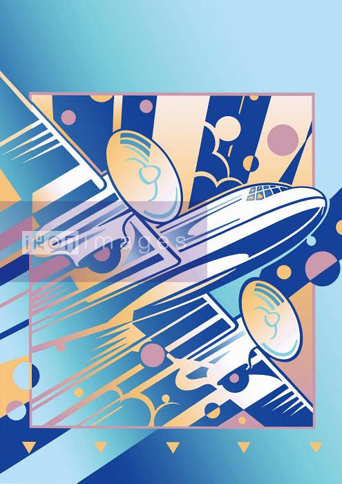 Flying art deco old-fashioned propeller airplane - Flying art deco old-fashioned propeller airplane - David Chestnutt
