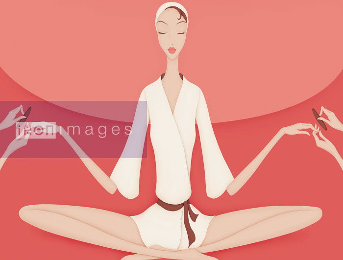 Pampered beautiful woman having manicure while meditating in yoga position - Pampered beautiful woman having manicure while meditating in yoga position - Wai