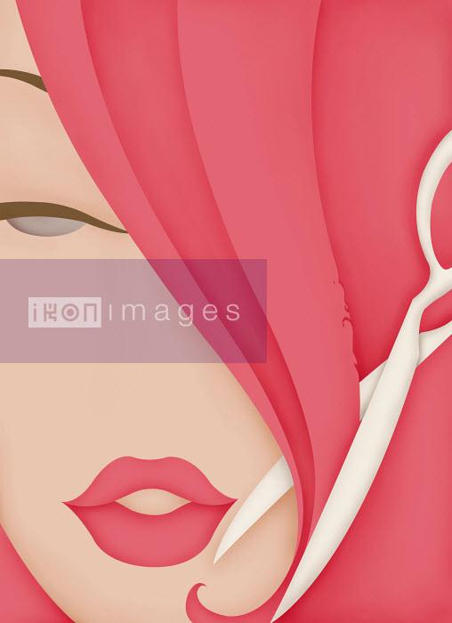 Close up of beautiful woman cutting pink hair - Close up of beautiful woman cutting pink hair - Wai