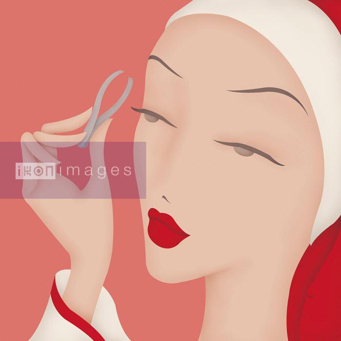 Close up of beautiful woman using eyebrow tweezers - Close up of beautiful woman using eyebrow tweezers - Wai