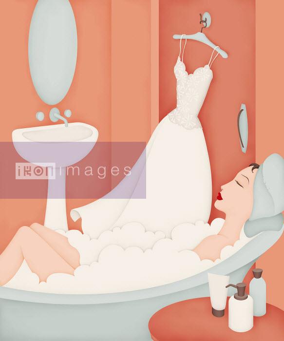 Beautiful woman in bathtub with wedding dress on coathanger - Beautiful woman in bathtub with wedding dress on coathanger - Wai