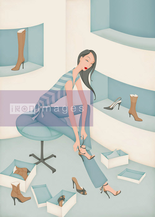Beautiful woman trying on high heel shoes in shop - Beautiful woman trying on high heel shoes in shop - Wai