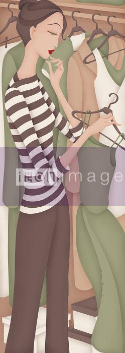 Beautiful woman choosing dress from closet - Beautiful woman choosing dress from closet - Wai