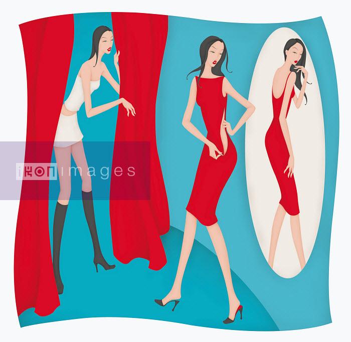 Beautiful woman struggling to zip dress in changing room - Beautiful woman struggling to zip dress in changing room - Wai