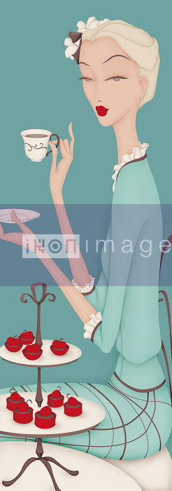 Beautiful elegant woman having afternoon tea - Beautiful elegant woman having afternoon tea - Wai