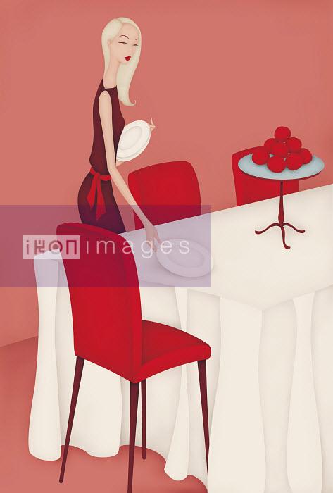 Beautiful woman setting dinner table - Beautiful woman setting dinner table - Wai