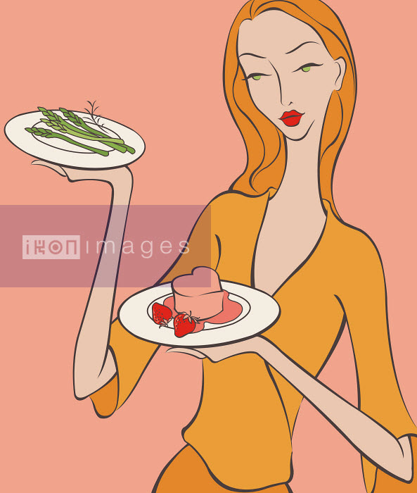Beautiful woman bringing asparagus and heart-shape dessert - Beautiful woman bringing asparagus and heart-shape dessert - Wai