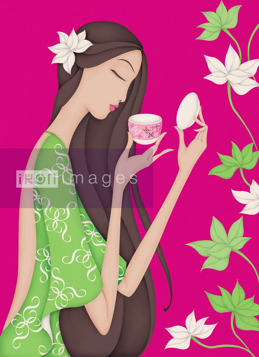 Beautiful woman smelling cup - Beautiful woman smelling cup - Wai