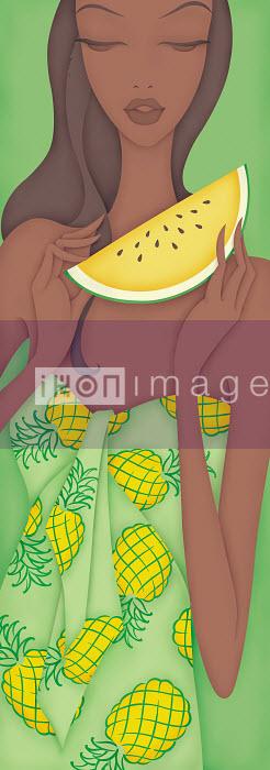 Beautiful woman holding slice of melon wearing pineapple pattern dress - Beautiful woman holding slice of melon wearing pineapple pattern dress - Wai