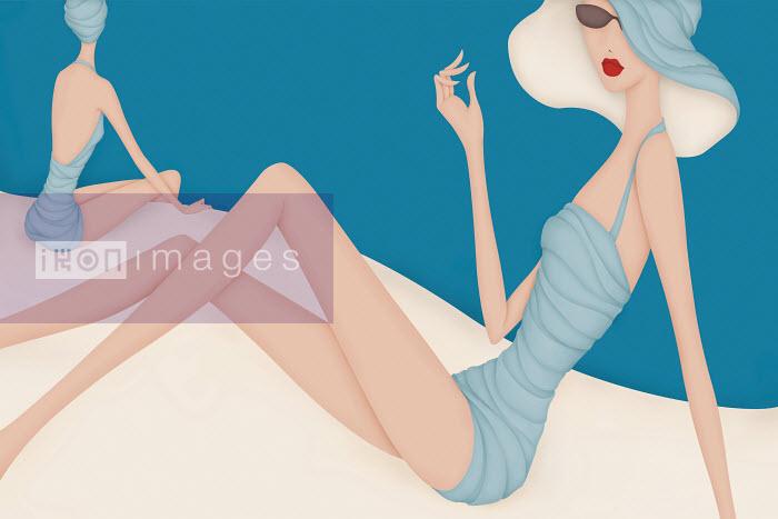 Beautiful elegant women sitting beside pool - Beautiful elegant women sitting beside pool - Wai