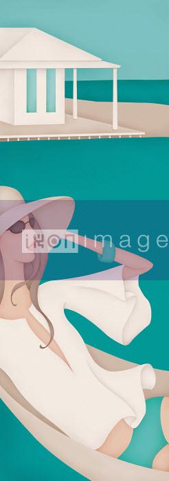 Beautiful woman in hammock by the sea - Beautiful woman in hammock by the sea - Wai