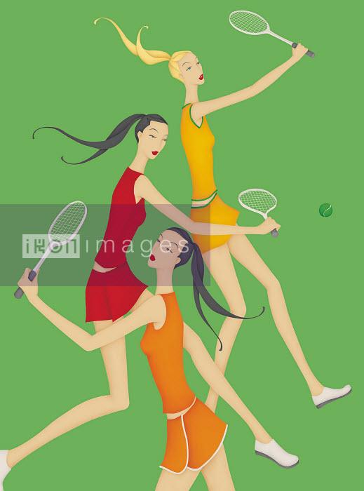 Beautiful women playing tennis - Beautiful women playing tennis - Wai
