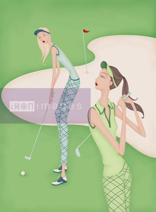 Beautiful women playing golf - Beautiful women playing golf - Wai