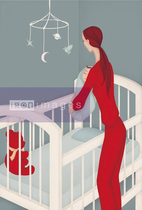 Woman putting baby boy in crib - Woman putting baby boy in crib - Wai
