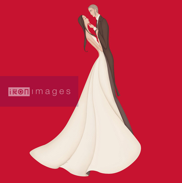 Bride and groom standing face to face on red background - Bride and groom standing face to face on red background - Wai