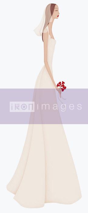 Beautiful elegant bride wearing wedding dress - Beautiful elegant bride wearing wedding dress - Wai