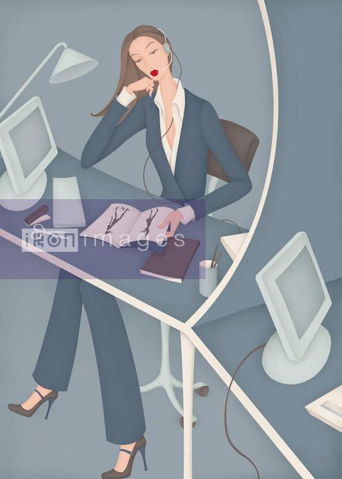 Bored customer service representative reading magazine - Bored customer service representative reading magazine - Wai