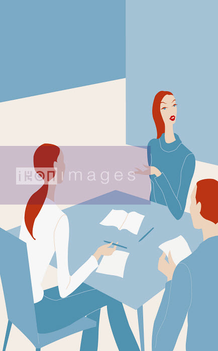 Three business people meeting in office - Three business people meeting in office - Wai