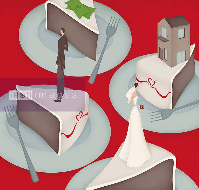 Separated bride and groom dividing money and house on wedding cake slices - Separated bride and groom dividing money and house on wedding cake slices - Wai