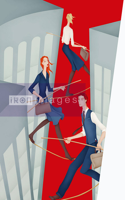 Business people walking tightropes between skyscrapers - Business people walking tightropes between skyscrapers - Wai