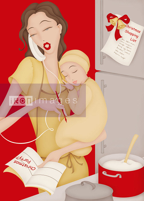 Busy mother in multitasking in kitchen holding baby and planning for Christmas - Busy mother in multitasking in kitchen holding baby and planning for Christmas - Wai