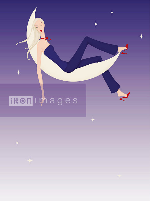 Beautiful woman relaxing on crescent moon - Beautiful woman relaxing on crescent moon - Wai